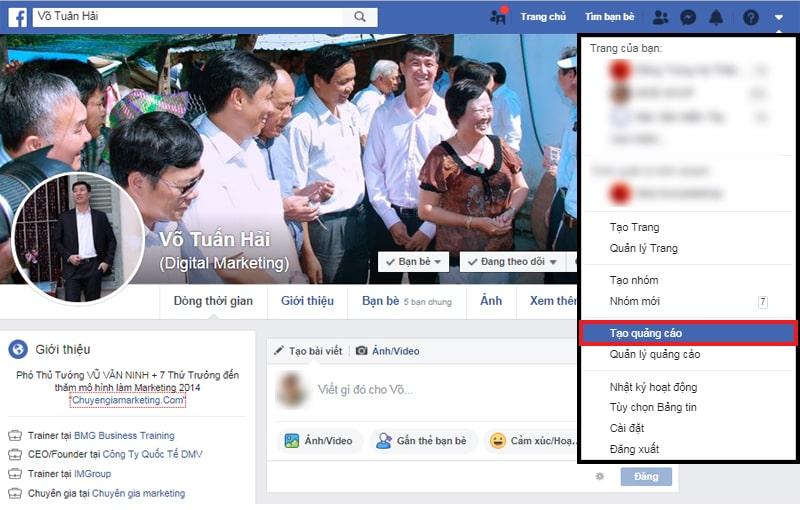 Truy cập Trình Tạo Quảng Cáo của Facebook