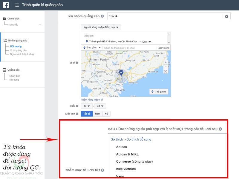 Bạn sẽ target đối tượng quảng cáo Facebook dưới dạng Từ Khóa