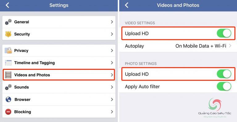 Kích hoạt tính năng upload ảnh hd lên Facebook