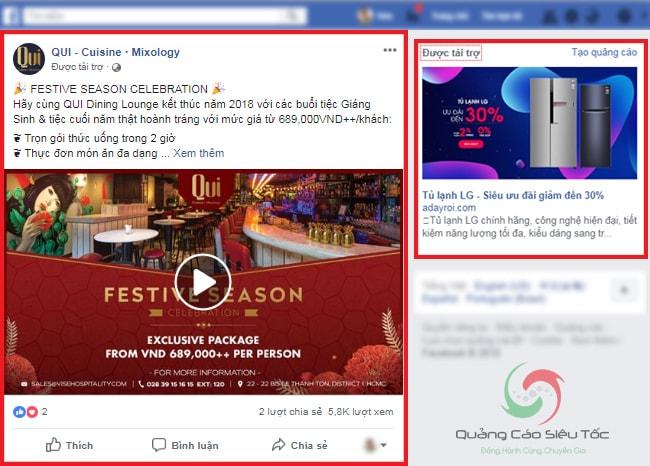 Vị trí hiển thị quảng cáo trên Facebook