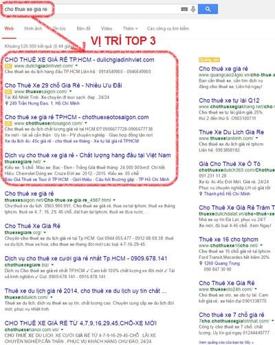 Vị trí quảng cáo Google TOP 3