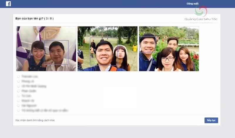Xác định ảnh bạn bè để kích hoạt lại tài khoản Facebook