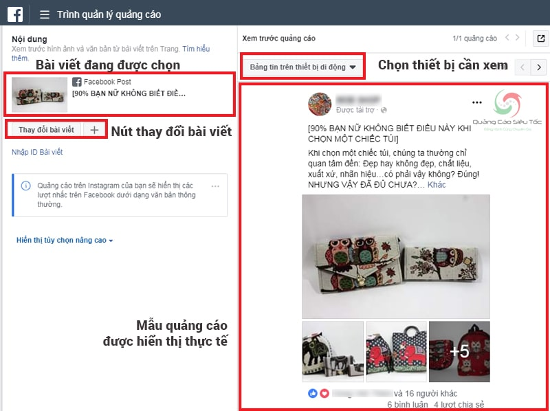 Xem lại bài post được hiển thị trên quảng cáo Facebook như thế nào