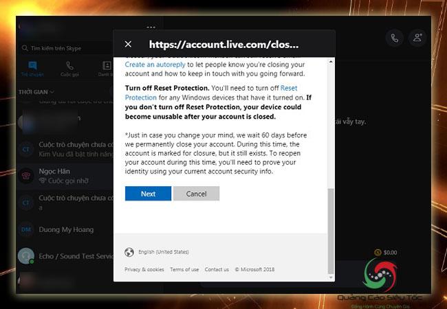 Xóa tài khoản Skype cần đọc kĩ quy định trước khi chuyển bước tiếp theo