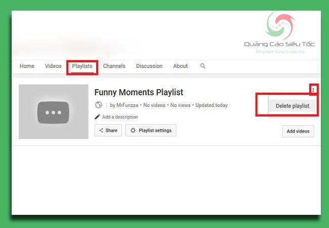 cách xóa video trên youtube - xóa cùng lúc cả Playist