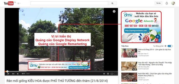 Các vị trí hiển thị Quảng cáo khác trên Youtube - Google Display Network và Google Remarketing