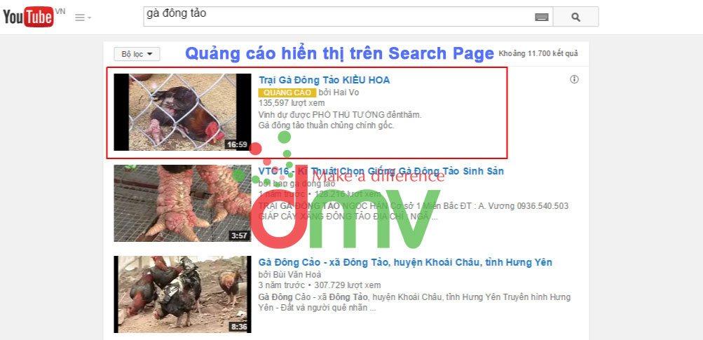 Quảng cáo hiển thị trên Youtube - Trang Search Page