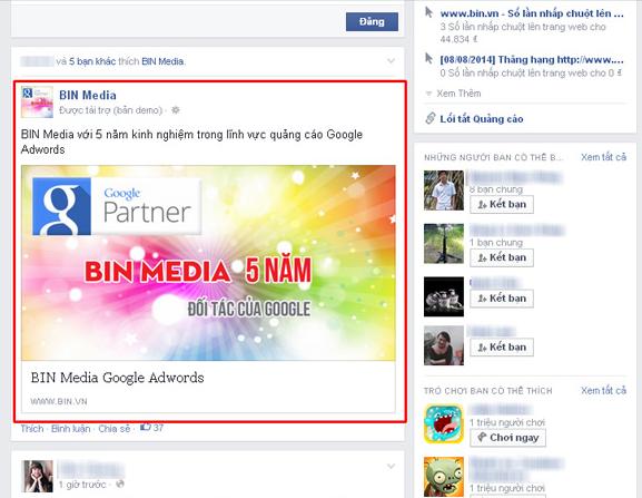 Vị trí Quảng Cáo trên Facebook chính giữa | Quảng Cáo Siêu Tốc