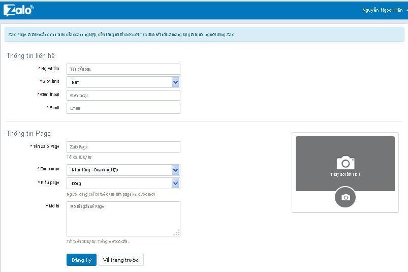 Hướng dẫn tạo Zalo Page - Đăng nhập thông tin Zalo Page