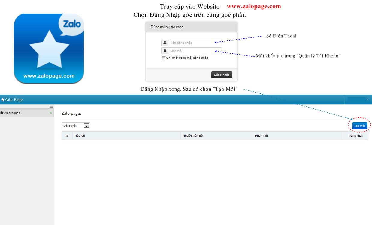 Hướng dẫn tạo Zalo Page - Đăng nhập vào Zalo Page