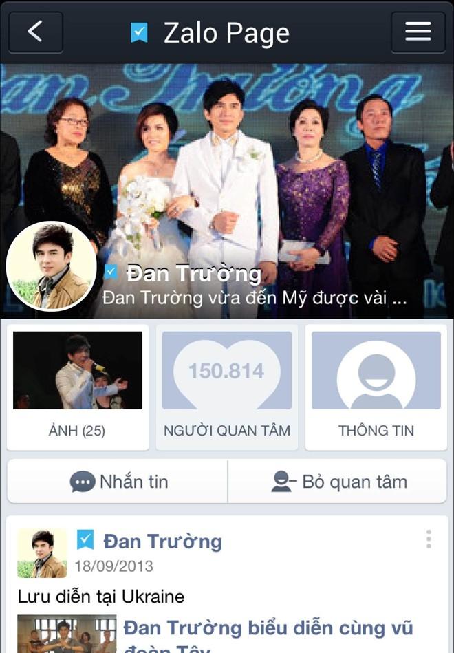 Trang Zalo Page của ca sĩ Đan Trường