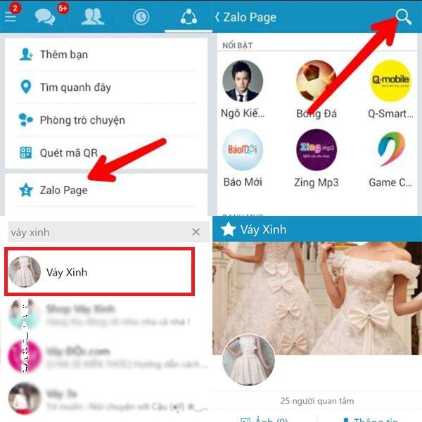 Trang Zalo Page tích hợp sẵn trong Zalo