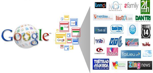 Một số website trong mạng hiển thị Google