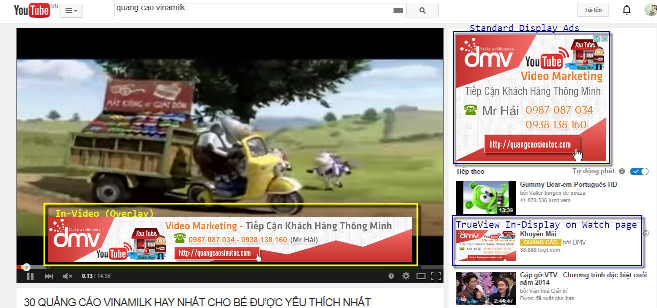 Vị trí quảng cáo tại trang xem Video: Standard Display Ads tại góc phải trang xem Youtube và Overlay Ads trong luồng xem video