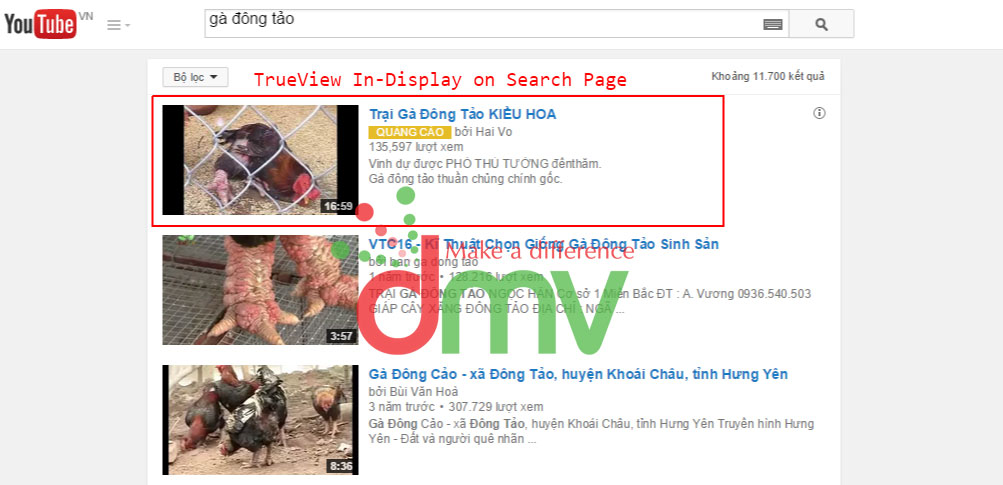 Quảng Cáo TrueView In-Display on Search Page