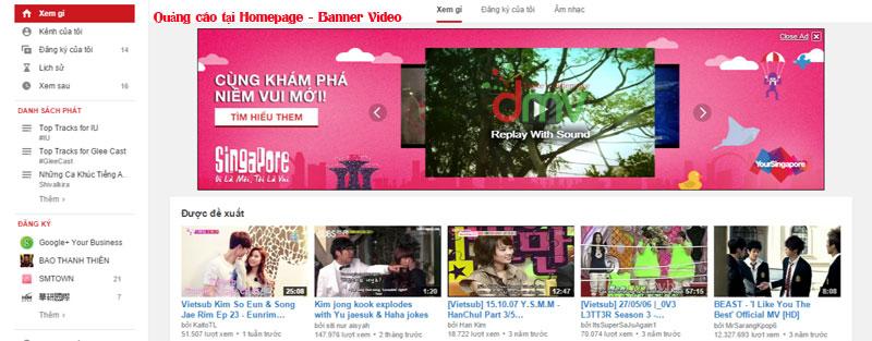 Quảng cáo youtube trên trang Homepage hiệu quả cao hơn các hình thức quảng cáo video còn lại.