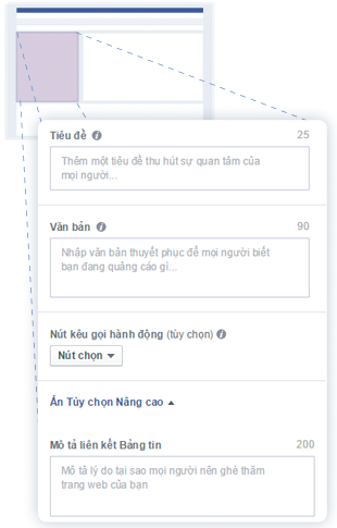 Phần điền nội dung Tiêu đề - Mô tả trên Facebook
