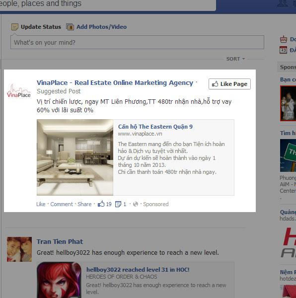 Quảng cáo Facebook trên News Feed