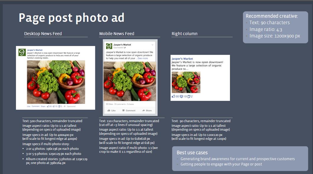 Minh hoạ: Hình ảnh Page Post Ads trên Quảng cáo Facebook cho cả 3 giao diện